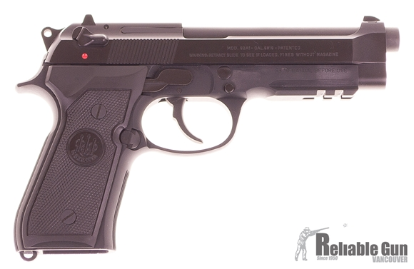 "Picture of Used Beretta 92 A1 DA/SA Semi-Auto Pistol - 9mm, 125mm (4.9""), Chrome-Lined, Matte Black Bruniton Steel Slide, Matte Black Anodized Alloy Frame w/Integral Picatinny Rail, Black Plastic Grips, 2x10rds, 3-Dot Sights, Excellent Condition"