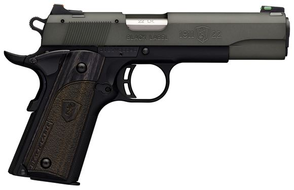 "Picture of Browning 1911-22 Black Label Gray Rimfire Single Action Semi-Auto Pistol - 22 LR, 4-1/4"",Gray Anodized Finish Brush Polished Flats Machined Aluminum Slide, Black Composite Frame w/ Checkered Front Strap, 10rds, Combat Fiber Optic Sights"