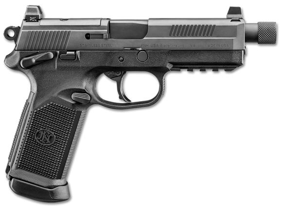 """Picture of FN Herstal (FNH) FNX-45 Tactical DA/SA Semi-Auto Pistol - 45 ACP, 5.3"""", w/.578x28 RH Thread & Thread Protector, Cold Hammer-Forged Stainless Steel, Black Steel Slide, Black Polymer Frame, 3x10rds, Fixed 3-Dot Night Sights"""