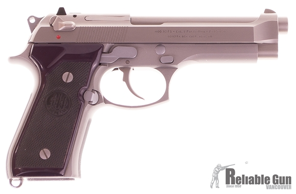 Picture of Used Beretta 92 FS INOX, Semi Auto 9mm Pistol, Silver Inox Finish, 3 Magazines, Plum Grips, Made In Italy, Good Condition