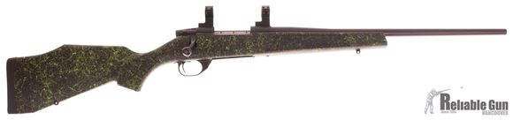 """Picture of Used Weatherby Vanguard Series 2 Youth Synthetic Bolt Action Rifle - 22-250 Rem, 20"""", Blued, Monte Carlo Black/Green Stock w/Stock Spacer 5rds, Talley Lightweight 1'' Scope Rings, Excellent Condition"""