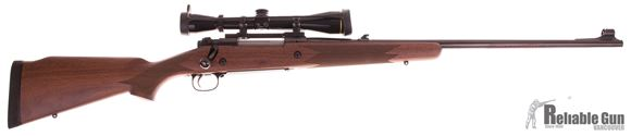 "Picture of Pre Owned Winchester Model 70 Alaskan Bolt Action Rifle - 375 H&H Mag, 25"", Cold Hammer-Forged Free-Floating, Brushed Polish, Satin Grade I Walnut Monte Carlo Stock, 3rds, Hooded Gold Bead Front & Folding Adjustable Rear Sights, With Leupold VX-2 3-9x40"