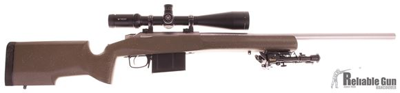 "Picture of Used Tikka T3 Varmint Bolt-Action 7mm Mag, Left Hand, 24"" Heavy Barrel, With Vortex Viper 6-24x50mm Scope, Manners Composite Target Stock, Converted to AICS Magazine, Very Good Condition"