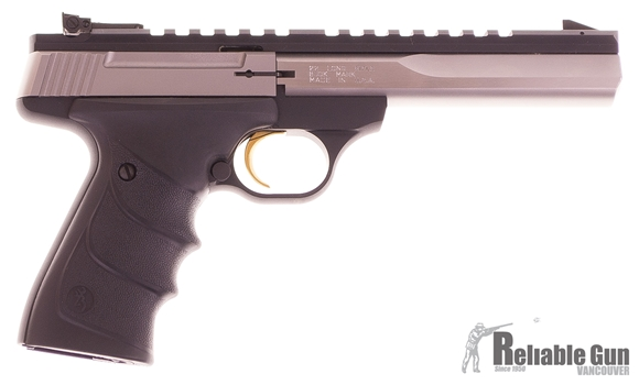 "Picture of Used Browning Buck Mark Contour Stainless Rimfire Semi-Auto Pistol - 22 LR, 5-1/2"", Special Contour, Polished Flat w/Full-Length Picatinny Rail, Stainless Steel, Matte Black Aluminum Alloy Frame, Ultragrip RX Ambidextrous Grip, Pro-Target Adj Sight"