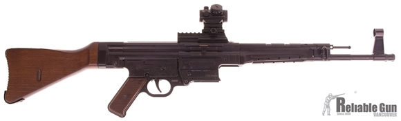 """Picture of Used German Sport Guns (GSG) GSG-STG 44 Rimfire Semi-Auto Rifle - 22 LR, 17.2"""", Blued, Solid Wood Stock & Grip Panels, 2x 25 Rd Mags, Bushnell TRS25 Red Dot, Good Condition"""