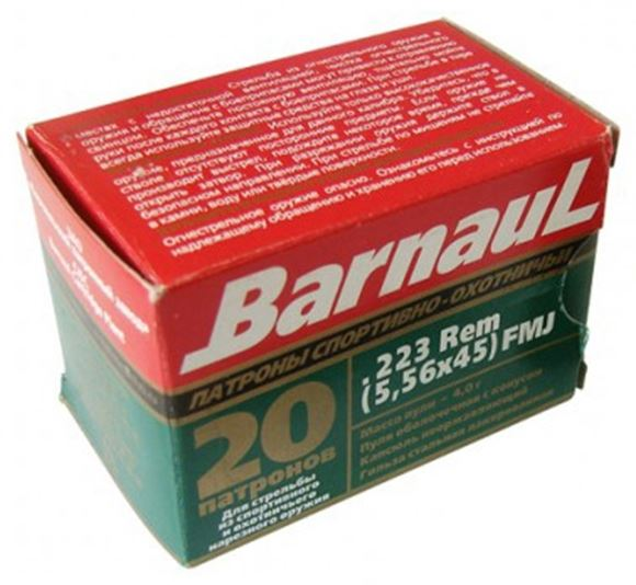 Picture of BarnauL Rifle Ammo - 223 Rem, 55Gr, FMJ, Zinc Plated Steel Case, Non-Corrosive, 20rds Box