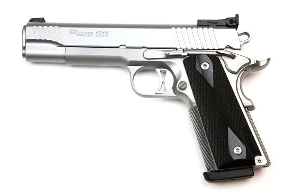 """Picture of SIG SAUER 1911 Traditional Match Elite Stainless Single Action Semi-Auto Pistol - 9mm, 5.0"""", Stainless, Traditional Slide, Custom Wood Grips, 2x9rds, Adjustable Target Sights"""