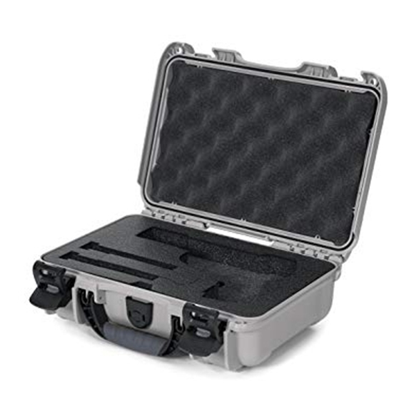 "Picture of Nanuk Professional Protective Cases - Classic Single Pistol Case, Pre-cut Foam, Waterproof & Impact Resistant, 12.64"" x 9"" x 4.38"", Silver"
