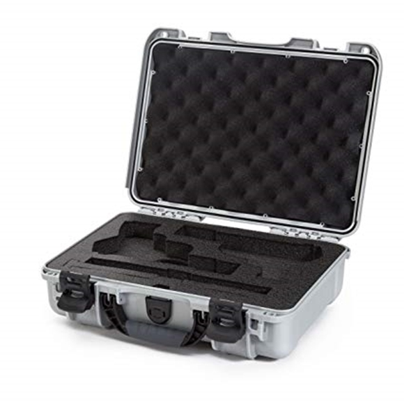 "Picture of Nanuk Professional Protective Cases - Classic Double Pistol Case, Pre-cut Foam, Waterproof & Impact Resistant, 14.3"" x 11.1"" x 4.7"", Silver"