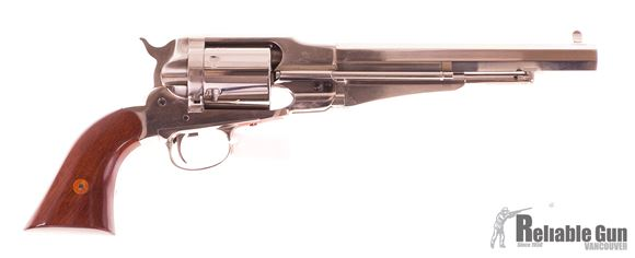 "Picture of Used Taylor's & Co. Uberti 1858 Remington Conversion Single-Action 44-40, 8"" Octagon Barrel, Polished Nickel Finish, With Original Box, Very Good Condition"