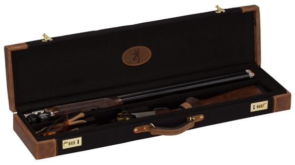 "Picture of Browning Gun Cases, Fitted Gun Cases - Lona O/U Takedown Case, 34"" x 8.75"" x 3.25"", Canvas/Leather, Black/Brown, Brass Combination Latch Locks"