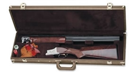 """Picture of Browning Gun Cases, Fitted Gun Cases - Traditional Over/Under 32 Shotgun Takedown Case, 31.75"""" x 10.875"""" x 4"""", Classic Brown, Wood Frame, Vinyl Shell, Antique Brass Trim"""