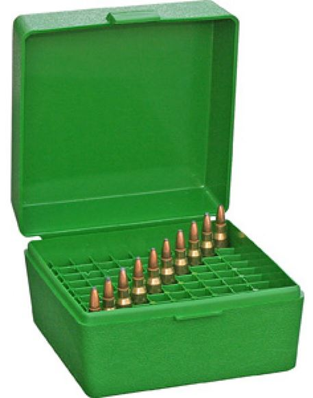 Picture of MTM Case-Gard R-100 Series Rifle Ammo Box - RS-100, 100rds, Green