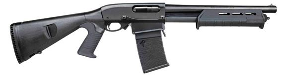 "Picture of Remington 870 Little Beaver 2 Pump Action Shotgun - 12Ga, 3"", 14"", Synthetic, Fixed Cyl Choke, 870 DM Box Magazine, 5rds, Magpul Fore End, Mesa Tactical Stock"