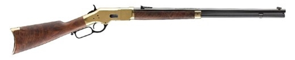 """Picture of Winchester Model 1866 Deluxe Lever Action Rifle - .45 Colt, 24"""" Octagon Barrel, Brushed Polish Finish, Brass Receiver, Grade V/VI Satin Oil Finish Black Walnut Stock, 14rds"""