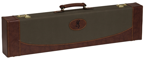 "Picture of Browning Gun Cases, Fitted Gun Cases - Encino II Fitted Case, 34"" x 8.75"" x 3.25"", Sage/Redwood, Wood Frame, Synthetic Leather Shell, Molded w/Synthetic leather Covering Handle"