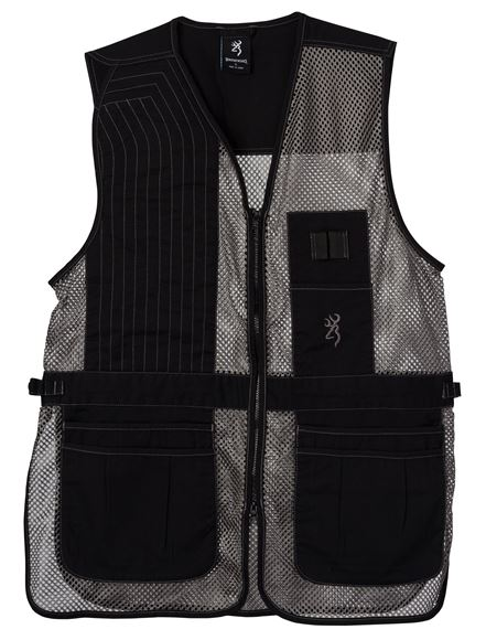 Picture of Browning Outdoor Clothing, Shooting Vests - Trapper Creek Mesh Shooting Vest, Black/Grey, 2XL