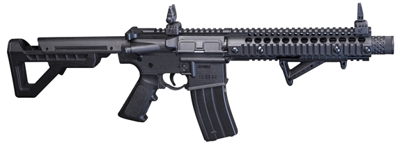 Picture of Crosman DPMS SBR Full-Auto Blow Back CO2 BB Air Rifle - .177, 430fps, 1 Magazine, 1400 Rounds Per Minute, Compatable With Metal BBs, Black