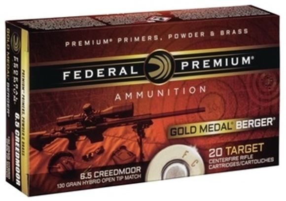 Picture of Federal Premium Gold Medal Rifle Ammo - 6.5 Creedmoor, 130gr, Berger Hybrid OTM, 200rds Case