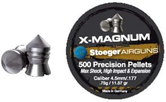 Picture of Stoeger Airguns Accessories, Pellets - X-Magnum, 4.5mm/.177 Caliber, .75g/11.57Gr, 300ct Can