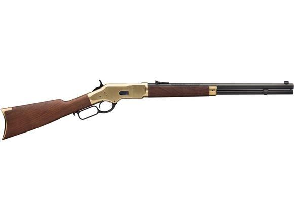 "Picture of Winchester Model 1866 Short Rifle Lever Action - 45 Colt, 20"" Round Barrel, Brushed Polish Finish, Brass Receiver, Grade V/VI Satin Oil Finish Black Walnut Stock, 10rds"