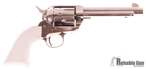 """Picture of Used Pietta 1873 Single-Action 44-40 Win, 5.5"""" Barrel, Nickel, With Faux Ivory Grips, Very Good Condition"""