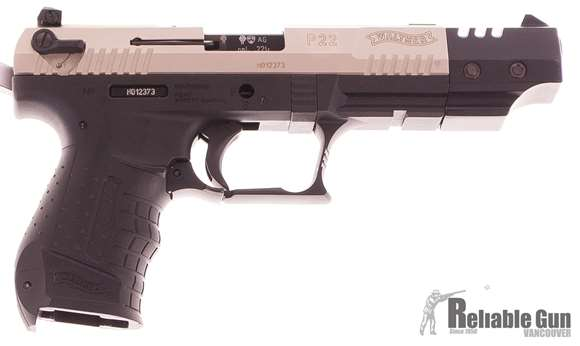 Picture of Used Walther P22 Semi-Auto Pistol .22LR, Stainless Slide, Black Frame, With 2 Mags, Very Good Condition