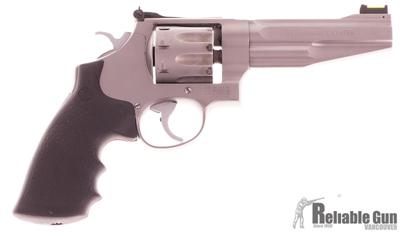 """Picture of Used Smith & Wesson Performance Center 627-5 Double-Action 357 Mag, 5"""" Barrel, Fiber Optic Sight, With Original Locking Case & 25 Moon Clips, Good Working Condition"""