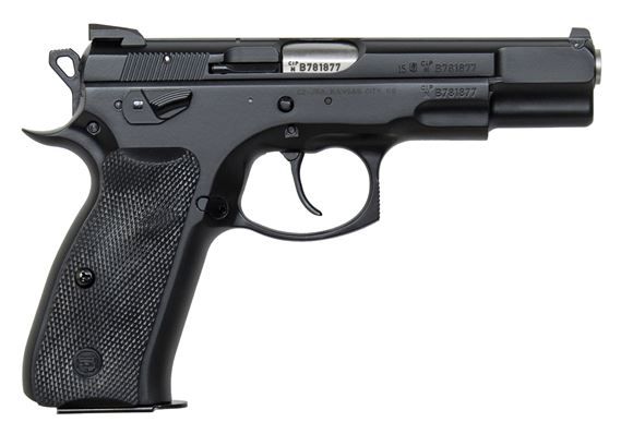 "Picture of CZ 75 B Omega DA/SA Semi-Auto Pistol - 9mm, 4.61"", Hammer Forged, Black Polycoat, Plastic Grips, 2x10rds, Fixed Sights"