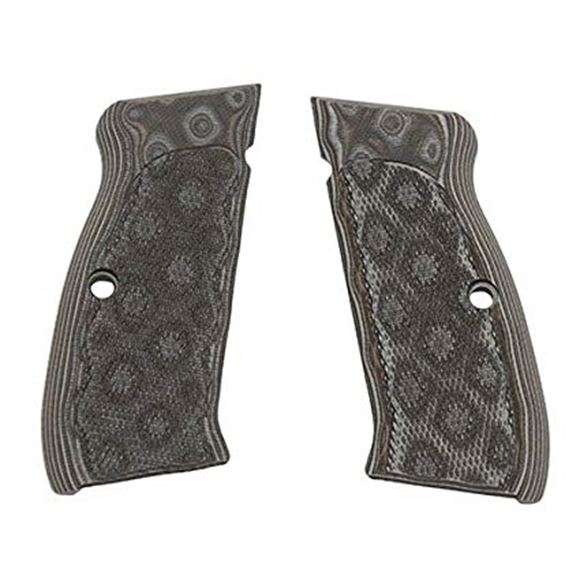 Picture of Hogue Handgun Grips, Springfield/CZ/TZ/EAA Witness/Tanfoglio/Sphinx Grips, CZ-75/CZ-85, Extreme Series G10 - CZ-75/CZ-85 Checkered G10, G-Mascus Brown/Gray