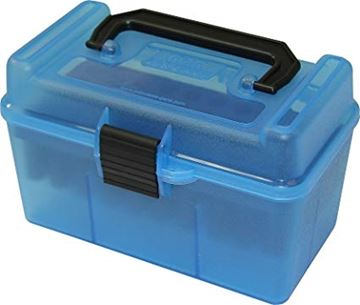 Picture of MTM Case-Gard Deluxe H-50 Series Rifle Ammo Case - H50-RM, 50rds, Clear Blue