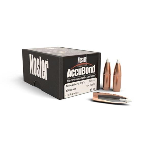 "Picture of Nosler Bullets, AccuBond - 375 Caliber (.375""), 300Gr, Spitzer w/Cannelure, 50ct Box"