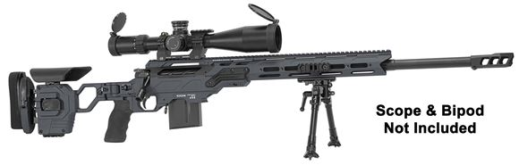 "Picture of Cadex Defense CDX-30 GUARDIAN Rifle - 6.5 Creedmoor, 26"", 1-8"" Twist, Hybrid Sniper Grey/Black, DX2 Trigger, Oversized Cross Hatch Bolt Knob, 10rds, Skeleton Buttstock, 20 MOA Rail, With MX1 Muzzle Brake"