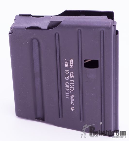 Picture of C-Products Defense XCR-M Pistol Magazines - 308 Win, 10rds, Matte Black, 400 Series Stainless Steel, Black Plastic Anti-Tilt Follower, Chrome Silcon Wire Spring