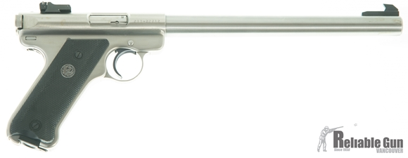 """Picture of Used Ruger Mark II Stainless .22 Lr Semi Auto Pistol, 10"""" Bull Barrel, Original Box, 5 Mags (4 Still In Packaging) Scope Mount, New In Box/Unfired"""