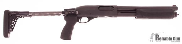 "Picture of Used Remington 870 Express Pump-Action 12ga, 3"" Chamber, Dlask 12"" Barrel, Sage International TS880RLW Collapsing Stock, Also Has Original 26"" Vent Rib Barrel (M), Good Condition"
