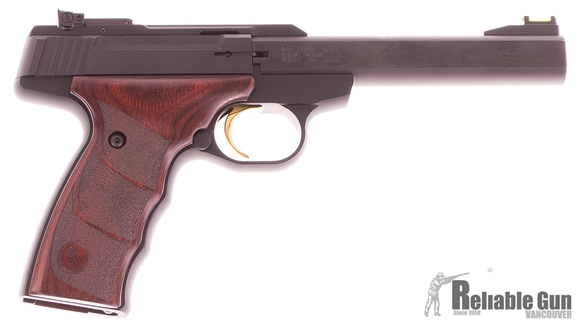 "Picture of Used Browning Buck Mark Plus Rosewood UDX Semi-Auto Rimfire Pistol - 22 LR, 5.5"", Polished Flats Matte Black Receiver & Barrel, Rosewood Grips, 1 Magazine, TruGlo Fiber Optic Front & Adjustable Rear Sight, Original Box, Very Good Condition"