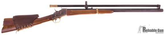 """Picture of Used Pedersoli Rolling Block Single-Shot 45-70 Govt, 30"""" Heavy Octagon Barrel, Vintage Style Long Fixed Power Scope, Leather Cheek Rest, Very Good Condition"""