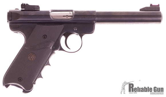 """Picture of Used Ruger Mark III Target Semi-Auto 22 LR, 5"""", Fiber Optic Sight, Pachmayr Grips, 2 Mags, Very Good Condition"""