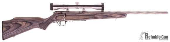 "Picture of Used Savage Mark II BVSS Bolt-Action 22 LR, 21"" Spiral Fluted Stainless Heavy Barrel, Laminate Stock, With Bushnell 3-9x40mm Scope, 4 Mags, Very Good Condition"
