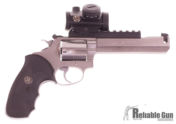 "Picture of Used Smith & Wesson Mod 60-4 Double-Action 38 Special, With Dlask 5"" Ported Barrel, Pachmayr Grips, Bushnell TRS-25 Red Dot, Good Condition"