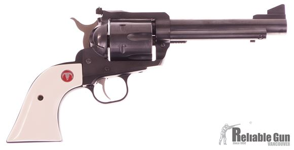 "Picture of Used Ruger Blackhawk Convertable Single-Action 45 Colt, 5.5"" Barrel, Blued, Spare 45 ACP Cylinder, Faux Ivory Grips, With Original Grips & Box, Excellent Condition"