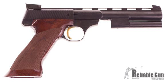"""Picture of Used Browning Medallist Semi-Auto .22LR, 6.5"""" Heavy Barrel With Vented Rib, Target Grips, 2 Mags, Fitted Presentation Case With Barrel Weights, Very Good Condition"""