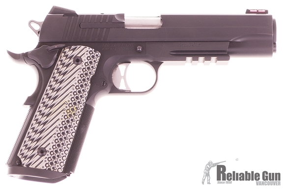 "Picture of Used SIG SAUER 1911 Tactical Operations Single Action Semi-Auto Pistol - 45 ACP, 5.0"", Nitron, Ergo XT Grips, 3 Mags, Low-Profile Night Sights, Rail, Ambi Safety, Magwell Excellent Condition"