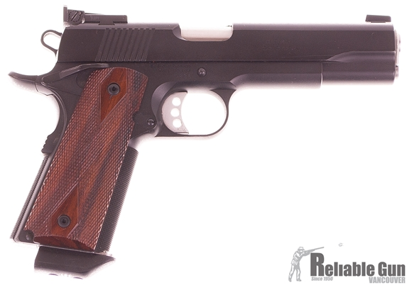 Picture of Used Ed Brown Executive Target 1911, 45 Acp, Semi Auto Pistol, Black w/Wood Grips, 5'' Barrel, Adjustable Target Rear Sight, Stainless Full Length Guide Rod, 1 Mag, Original Soft Case, Very Good Condition