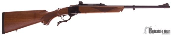 """Picture of Used Ruger No.1 Medium Sporter Single-Shot Lever Action Rifle - 45-70 Govt, 22"""", Blued, Walnut Stock,  Bead Front & Adjustable Rear Sight, w/NECG Peep Sight, 2 Sets Of 1'' Rings (Med, High), New Condition w/Original Box"""