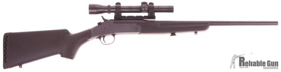 Picture of Used New England Firearms (NEF) Sportster SS1, Single Shot Break Action 22 LR, 20'' Barrel, Black Synthetic Stock 12'' LOP, w/Weaver K2.5 Rifle Scope Target Dot Reticle, Excellent Condition