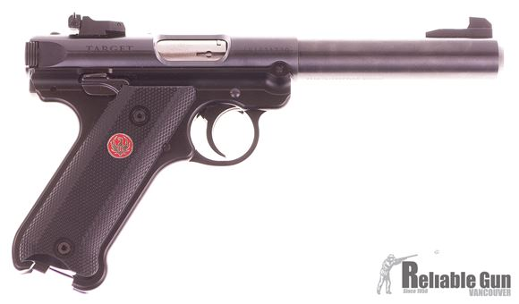 "Picture of Used Ruger MK IV Target .22 LR Semi Auto Pistol, 5.5"" Bull Barrel, Blued, 3 x 10 Rd Mags, Original Box, Good Condition"