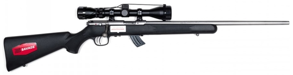 """Picture of Savage Arms Mark II FSSNSXP Bolt Action Rifle - 22 LR, 21"""", Matte Stainless Steel, Matte Black Synthetic, 10rds, With Weaver 3-9x40mm Scope"""