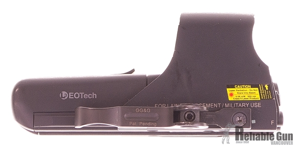 Picture of Used EOtech 512 Holographic Sight, 1 MOA Dot & 65 MOA Ring, 2x AA Batteries, With GG&G Quick Release Lever, Good Condition
